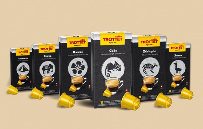 EtienneEtienne signe les packagings du plus grand assortiment suisse de café artisanal en capsules compatibles Nespresso®*!
