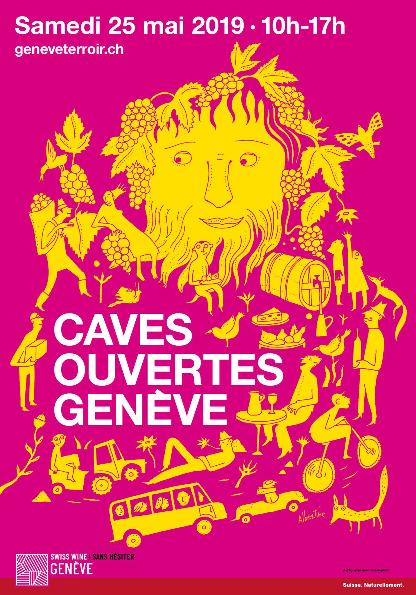 Albertine und EtienneEtienne kreieren das Visual für die Caves Ouvertes de Genève 2019